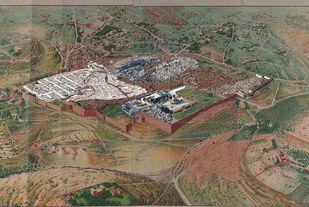 Jerusalem 1 by Mustafa Khanbhai, Expressionism Digital Art, Digital Print on Archival Paper, Brown color