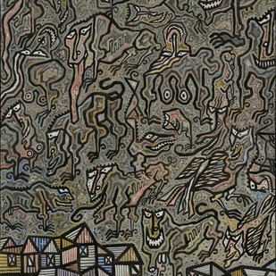 Dark Ages by Arunangshu Roy, Expressionism Painting, Acrylic on Canvas, Brown color