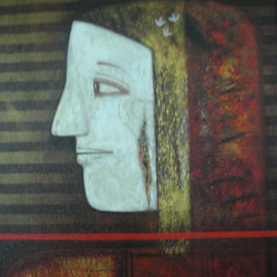 UNTITLED by Kolcharam Srinivasa Chari, Expressionism Painting, Acrylic on Canvas, Brown color