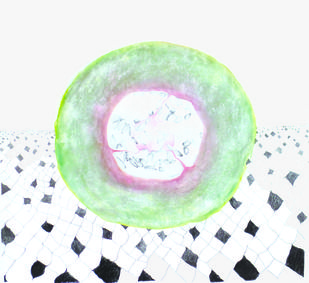 MELON CENTRIC by Lisha Kirpalani, Expressionism Painting, Mixed Media on Paper, Gray color
