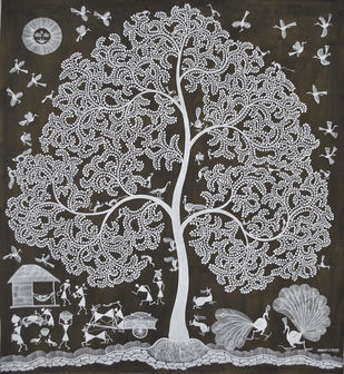 Tree by Naresh Bhoye, Traditional Painting, Mixed Media on Canvas, Gray color