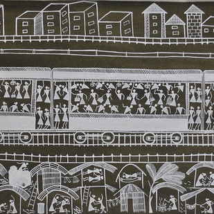 Train by Dilip Bahotha, Traditional Painting, Mixed Media on Canvas, Gray color