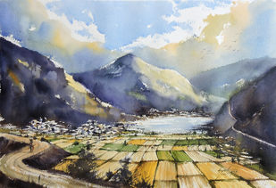 Valley of peace by Sunil Linus De, Impressionism Painting, Watercolor on Paper, Gray color