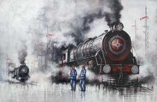 Nostagia of Indian Steam Locomotives 33 by Kishore Pratim Biswas, Realism Painting, Acrylic on Canvas, Gray color