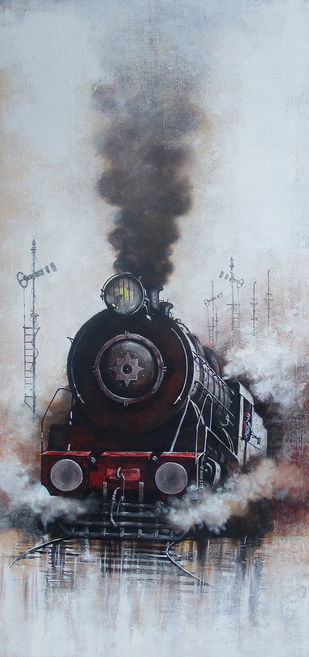 Nostalgia of Indian Steam Locomotives 30 by Kishore Pratim Biswas, Realism Painting, Acrylic on Canvas, Gray color