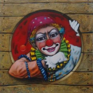 Joker by Apet Pramod Mahadev, Expressionism Painting, Acrylic on Canvas, Brown color