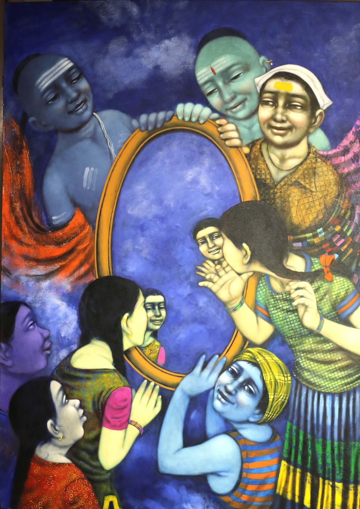 The Mirror by Apet Pramod Mahadev, Expressionism Painting, Acrylic on Canvas, Blue color