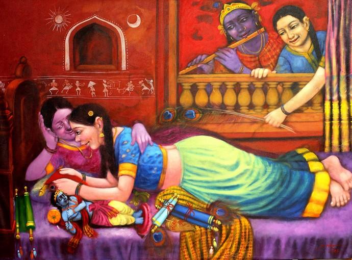 Love by Apet Pramod Mahadev, Decorative Painting, Acrylic on Canvas, Brown color