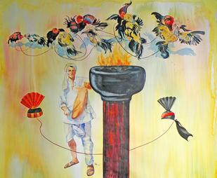 Beating The Grey Factor by Shrikant Puranik, Expressionism Painting, Watercolor on Paper, Beige color