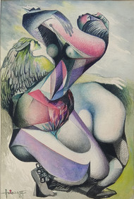 DEVINE RHYTHM by Asis Pradhan, Expressionism Painting, Watercolor on Paper, Gray color