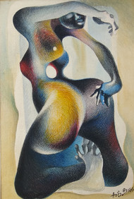DANCING SCULPTURE by Asis Pradhan, Expressionism Painting, Watercolor on Paper, Beige color