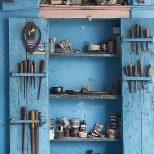 An artisan's shelf by Ankit Agrawal, Image Photography, Digital Print on Archival Paper, Blue color
