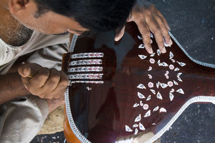 Making embellishments visible on Tanpura by Ankit Agrawal, Image Photography, Digital Print on Archival Paper, Brown color