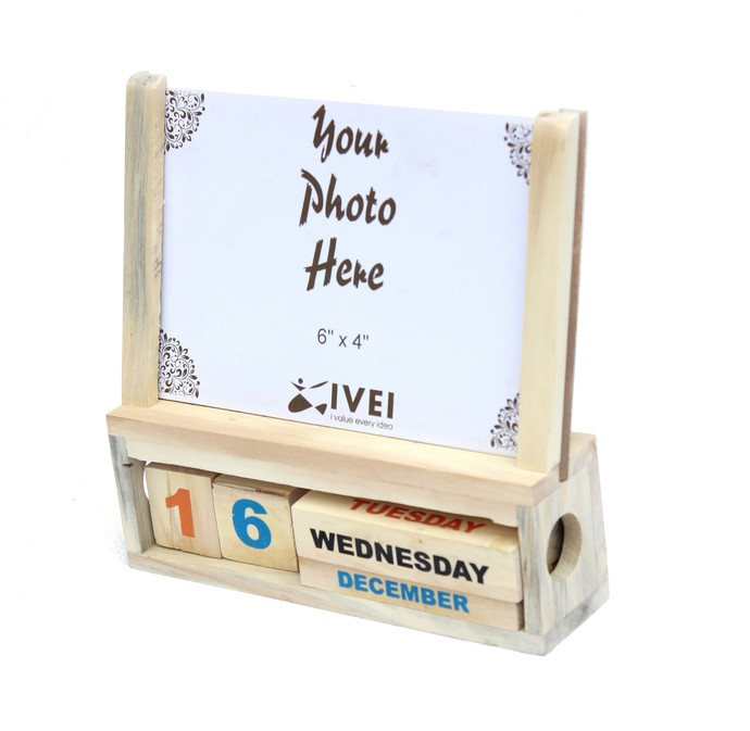 Ivei Wooden Desk Calendar With A Photo Frame Stationery By I Value