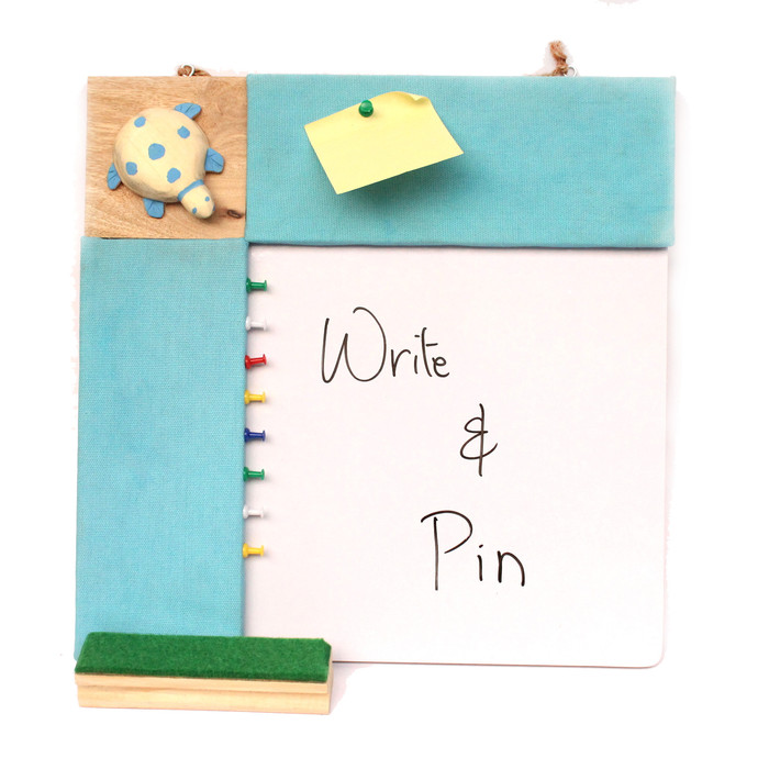 IVEI Pin board + whiteboard, Combination board Turtle - Blue Wall Decor By i-value-every-idea