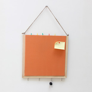 IVEI Wooden Pinboard with keyhooks - Orange Wall Decor By i-value-every-idea