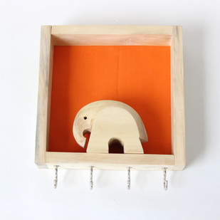 IVEI wood and Khadi combination elephant key holder Wall Decor By i-value-every-idea