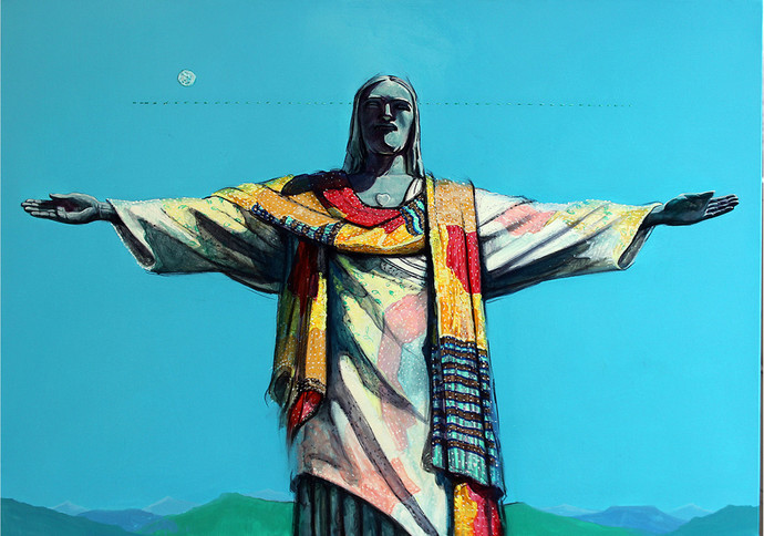jesus by Ramchandra Kharatmal, Expressionism Painting, Acrylic & Graphite on Canvas, Cyan color