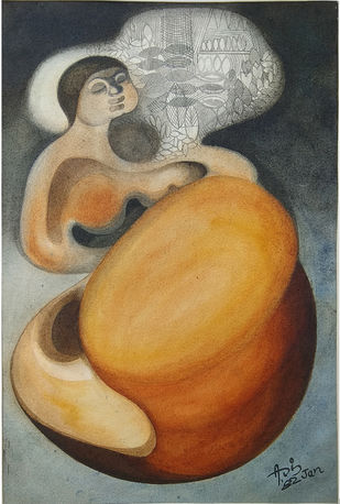 THE DREAM by Asis Pradhan, Expressionism Painting, Watercolor on Paper, Brown color