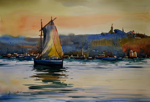 Boat2 by prasanta maiti, Impressionism Painting, Watercolor on Paper, Brown color