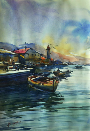 untitle05 by prasanta maiti, Impressionism Painting, Watercolor on Paper, Green color