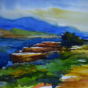untitle06 by prasanta maiti, Impressionism Painting, Watercolor on Paper, Blue color
