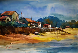 untitle07 by prasanta maiti, Impressionism Painting, Watercolor on Paper, Brown color