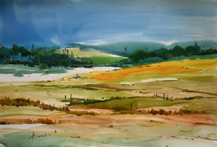 Landscape1 by prasanta maiti, Impressionism Painting, Watercolor on Paper, Green color