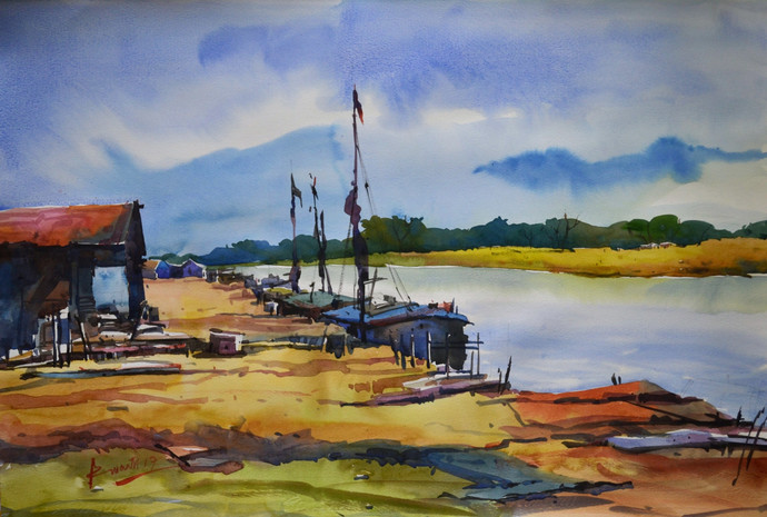 River by prasanta maiti, Impressionism Painting, Watercolor on Paper, Brown color