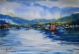 untitle10 by prasanta maiti, Impressionism Painting, Watercolor on Paper, Blue color