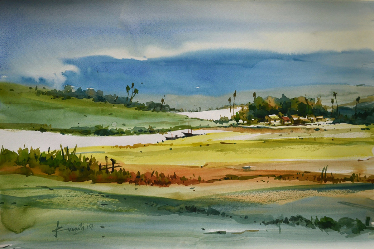 Landscape by prasanta maiti, Impressionism Painting, Watercolor on Paper, Green color