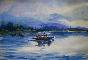 untitle12 by prasanta maiti, Impressionism Painting, Watercolor on Paper, Blue color