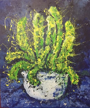 The cactus (her) by Saikat Chakraborty, Expressionism Painting, Acrylic on Canvas, Green color