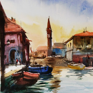 Boat1 by prasanta maiti, Impressionism Painting, Watercolor on Paper, Brown color