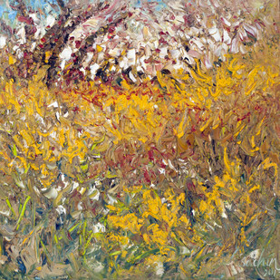yellow shrubs by Sachin Upadhye, Abstract Painting, Oil on Canvas, Brown color