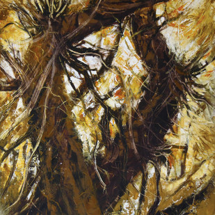 roots by Sachin Upadhye, Abstract Painting, Oil on Canvas, Brown color