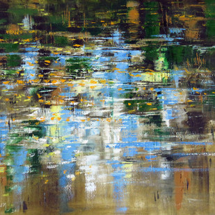 ripples by Sachin Upadhye, Abstract Painting, Oil on Canvas, Green color