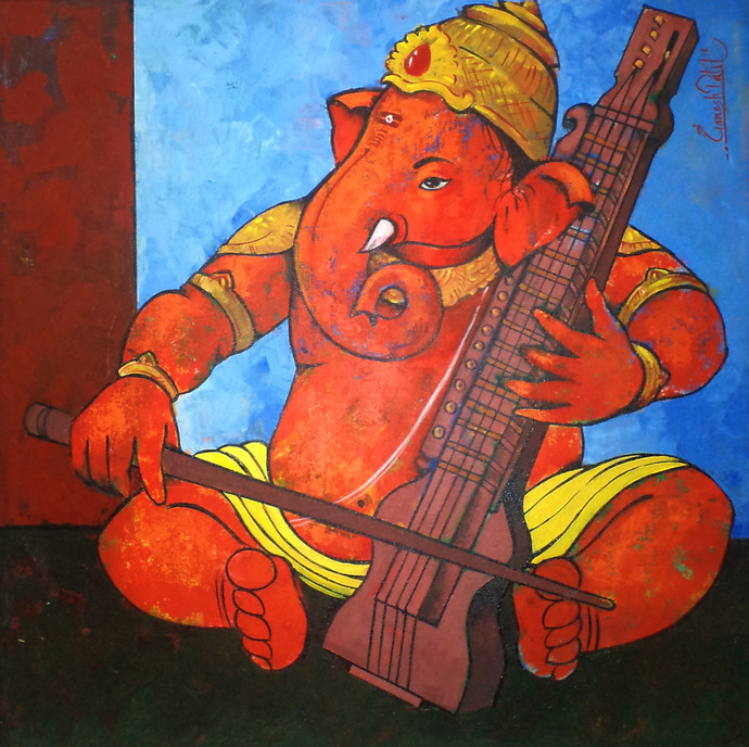 Ganesha 001 by Ganesh Patil, Traditional Painting, Acrylic on Canvas, Brown color