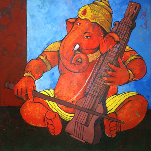 Ganesha 001 Digital Print by Ganesh Patil,Traditional