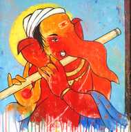 Ganesha 004 by Ganesh Patil, Traditional Painting, Acrylic on Canvas, Cyan color