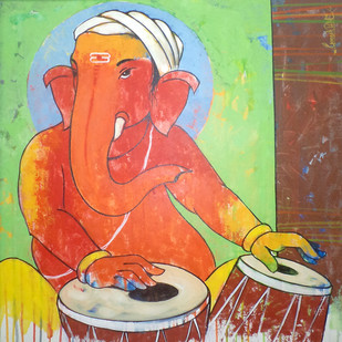 Ganesha 007 Digital Print by Ganesh Patil,Traditional