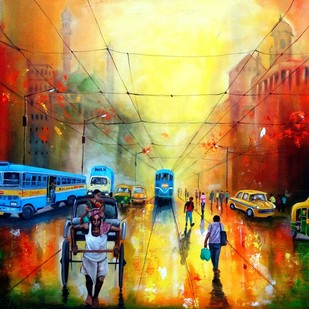 kolkata street by Arjun Das, Impressionism Painting, Acrylic on Canvas, Brown color