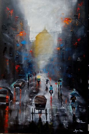 kolkata rainy day by Arjun Das, Impressionism Painting, Acrylic on Canvas, Gray color