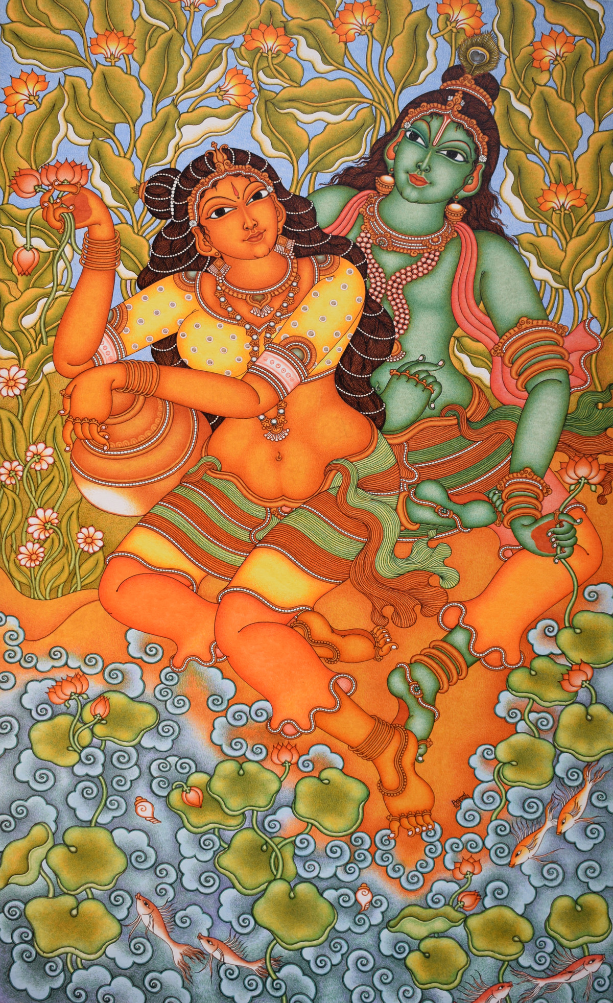 Kerala mural painting by artist unknown artist for Canvas mural painting