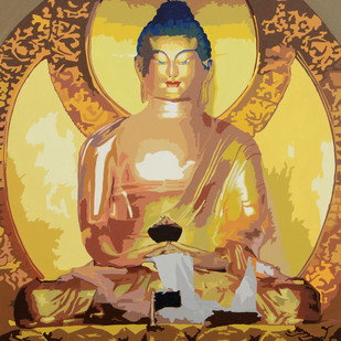 Buddha by raj kumar sharma, Impressionism Painting, Acrylic on Canvas, Brown color