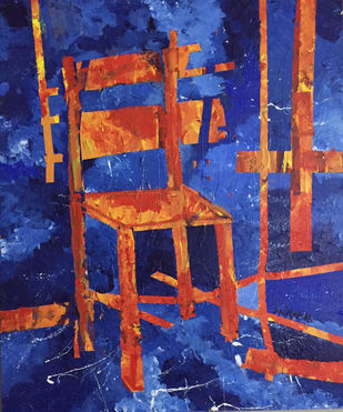 The Chair of Fire by Saikat Chakraborty, Expressionism Painting, Acrylic on Canvas, Blue color