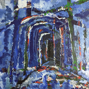 The tunnel by Saikat Chakraborty, Abstract Painting, Acrylic on Canvas, Blue color