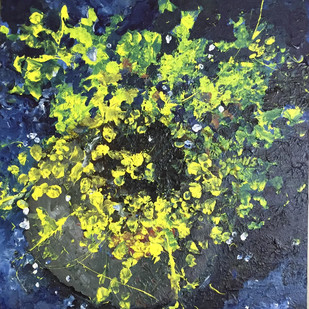 The flower vase from the top by Saikat Chakraborty, Expressionism Painting, Acrylic on Canvas, Green color
