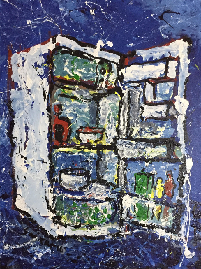 The fridge (Single Door) by Saikat Chakraborty, Abstract Painting, Acrylic on Canvas, Blue color