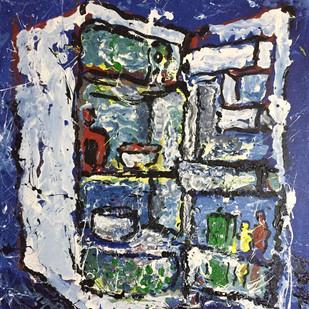 The fridge (Single Door) by Saikat Chakraborty, Abstract Painting, Acrylic on Canvas, Blue color